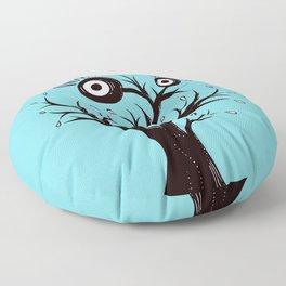 Weird Tree Monster Ink Drawing Floor Pillow