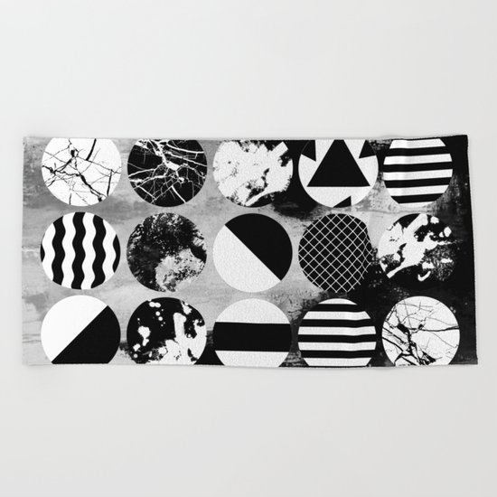 Eclectic Circles - Black and white, abstract, geometric, textured designs Beach Towel