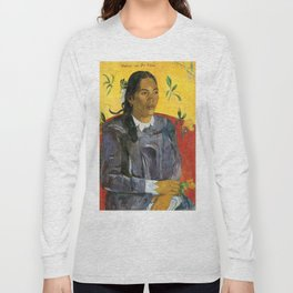 Tahitian Woman with a Flower by Paul Gauguin Long Sleeve T-shirt