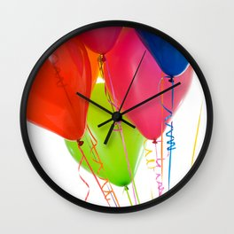 Balloons: Crop of Colorful Balloons Gathered Together Wall Clock