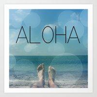 aloha Art Prints featuring ALOHA by mark ashkenazi