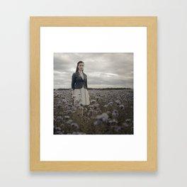 Woman in Field Framed Art Print