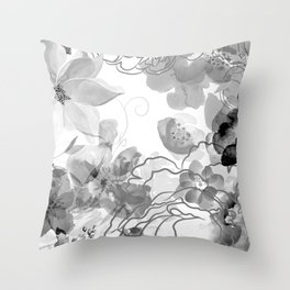 Rosie Outlook - grayscale Throw Pillow