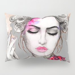 Tender girl, flowers and smoke. #picture Pillow Sham
