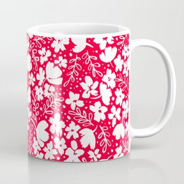 Love Blossoms Pattern White on Red Coffee Mug