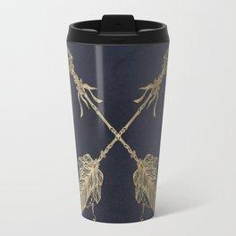 Arrows Gold Copper Bronze on Navy Blue Travel Mug
