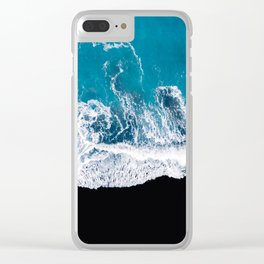 Black sand beach with waves and blue Ocean in Iceland – Minimal Photography Clear iPhone Case