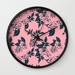 Camellia & Jasmine Sketch on pink Wall Clock