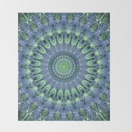 Mandala in light green and blue colors Throw Blanket
