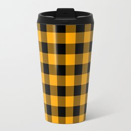 Crisp Orange and Black Lumberjack Buffalo Plaid Fabric Travel Mug
