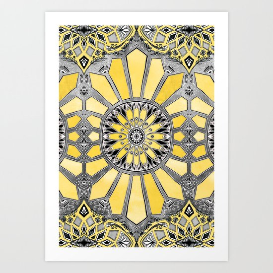 Sunny Yellow Radiant Watercolor Pattern Art Print