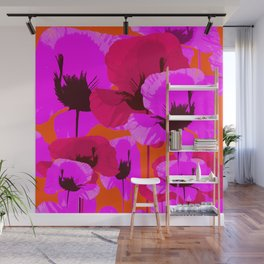 Pink And Red Poppies On A Orange Background - Summer Juicy Color Palette - Retro Mood Wall Mural