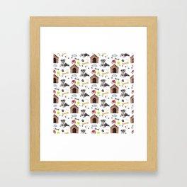Schnauzer Dog Half Drop Repeat Pattern Framed Art Print
