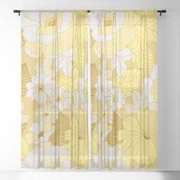 Yellow, Ivory & Brown Retro Flowers Sheer Curtain