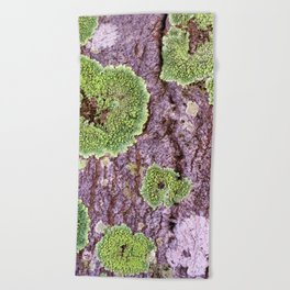 Tree Bark Pattern with Lichen #7 Beach Towel