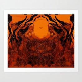 Skull Chieftain Fiery Bellow [Digital Figure Illustration] Art Print