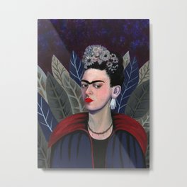 Frida Kahlo Goth Vampire. Dark version Frida Kahlo. Frida Kahlo self-portrait tribute Metal Print