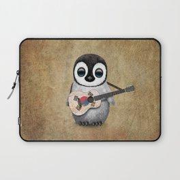 Baby Penguin Playing South Korean Flag Guitar Laptop Sleeve