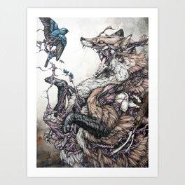 Red Fox and Indigo Bunting Art Print