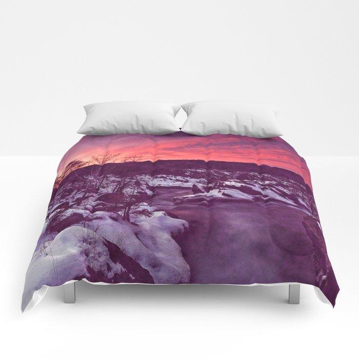 Great Falls Winter Twilight - Violet Velvet Fantasy Comforters
