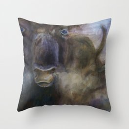 Bull - Original painting Throw Pillow