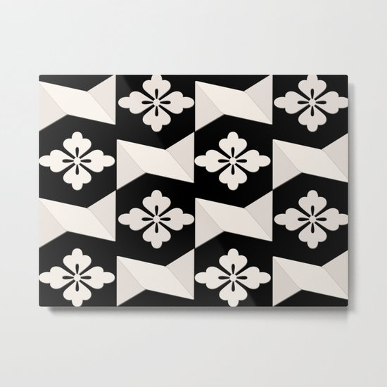 Black White Tiles Metal Print