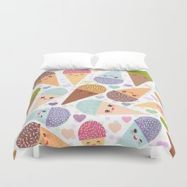 Kawaii funny Ice cream waffle cone, with pink cheeks and winking eyes Duvet Cover