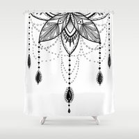 chandelier Shower Curtains featuring Flowing Mandala Chandelier Drawing by Robin Elizabeth Art