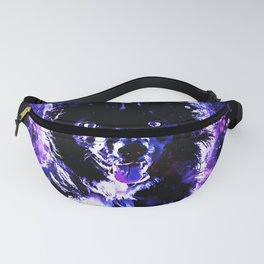 border collie dog lying down watercolor splatters cool blue purple Fanny Pack