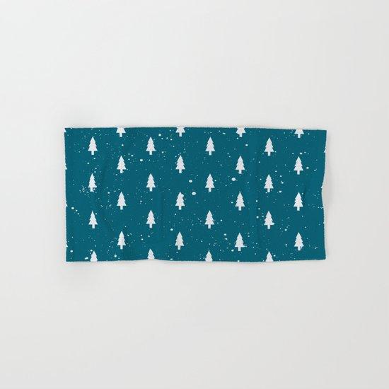 Christmas Trees Pattern Teal Hand & Bath Towel
