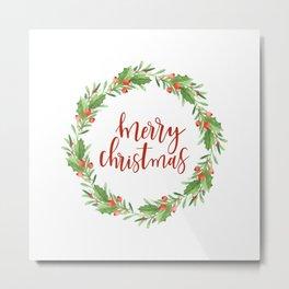 Christmas wreath- merry Christmas Metal Print