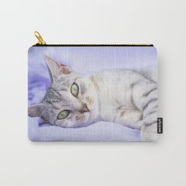 Silver tabby cat on purple blanket Carry-All Pouch