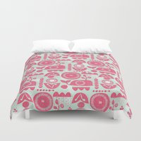 folk Duvet Covers featuring folk whale by ottomanbrim