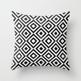 Black and white watercolor diamond pattern Throw Pillow