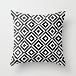 Black and white watercolor diamond pattern Throw Pillow