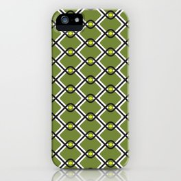 1960's Inspired Green, Yellow, Black and White Pattern iPhone Case