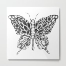 Butterfly, Surreal Pencil Drawing Metal Print