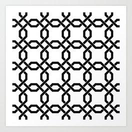 Black Chain Links on White Art Print