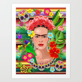 Frida Kahlo Floral Exotic Portrait Art Print