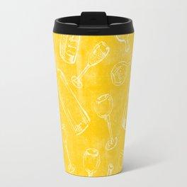 Bottles&Glasses Yellow Travel Mug