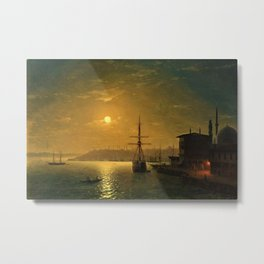 Constantinople (Istanbul) by Moonlight by Ivan Aivazovsky Metal Print