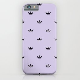 Black Crown pattern on Lilac background iPhone Case