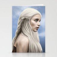daenerys targaryen Stationery Cards featuring Khaleesi (Blue Sky) by Jason Cumbers