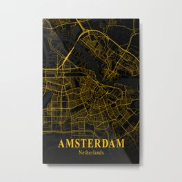 Amsterdam Netherlands City Map | Gold Netherlands City Street Map | European Cities Maps Metal Print