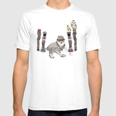 Owl in the City of Hearts MEDIUM Mens Fitted Tee White