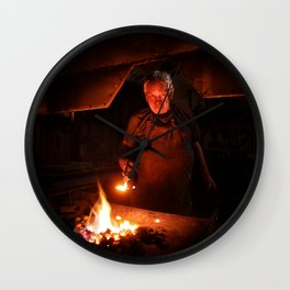 Old-Fashioned Blacksmith at work Wall Clock