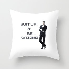 Suit Man Standing. SUIT UP! BE AWESOME! Throw Pillow