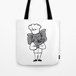Chef Elephant Arms Crossed Standing Cartoon Tote Bag