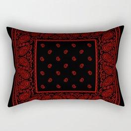 Classic Red and Black Bandana Rectangular Pillow
