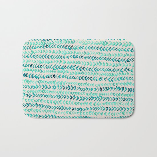 Hand Painted Herringbone Pattern in Mint Bath Mat